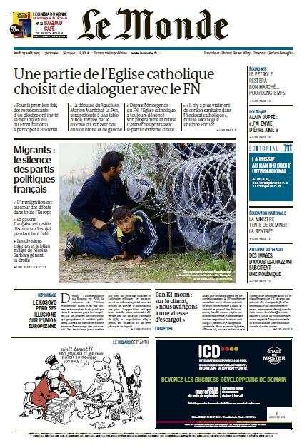 Le Monde du Jeudi 27 Aout 2015