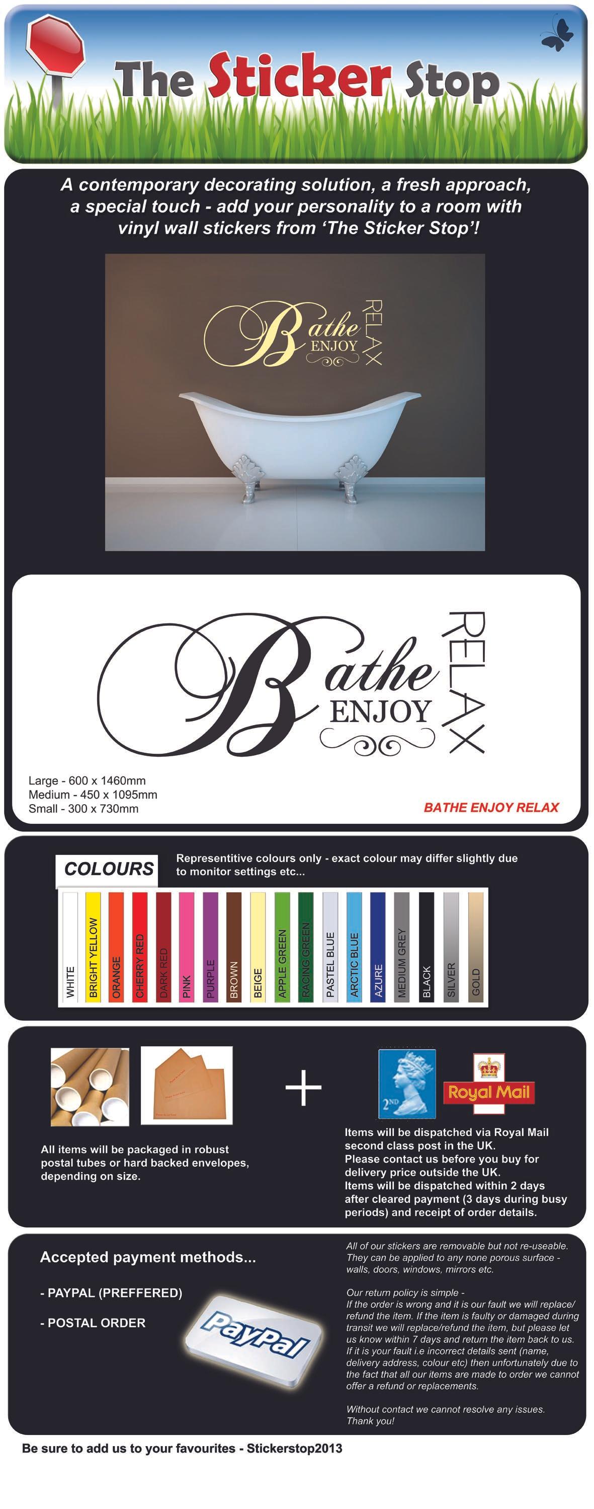 Fare il bagno rilassa enjoy bagno contemporanea adesivo da - Fare il bagno in inglese ...