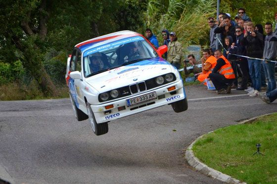 Niki Glisic driving a BMW E30 M3 at the 2013 San Marino Rally Legends