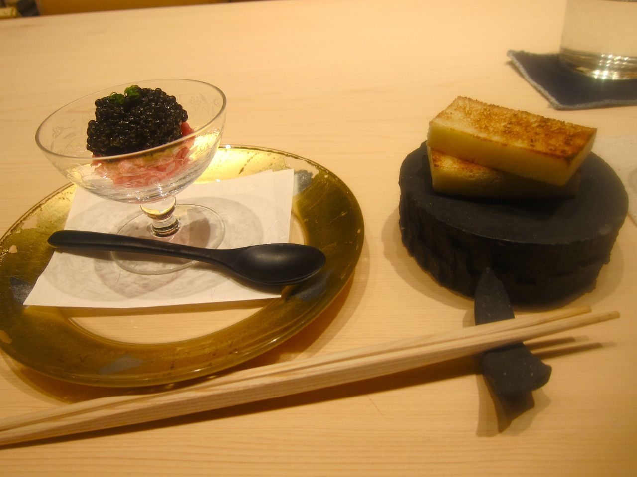 If you have to ask the price, you can't afford this gossamer fatty toro and caviar.