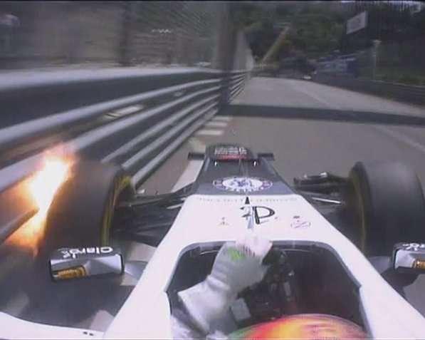 2012 Monaco GP Sergio Pérez crashing at Piscine