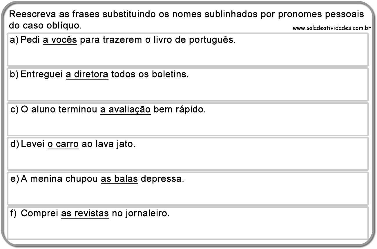 Conhecido Atividades de pronomes pessoais e tratamento para imprimirSala de  RG86