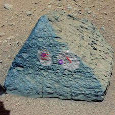 This image shows where NASA&#39;s Curiosity<br /> rover aimed two different instruments<br /> to study a rock known as &quot;Jake Matijevic.&quot;<br /> Image credit: NASA/JPL-Caltech/MSSS<br /> <a href='http://www.nasa.gov/mission_pages/msl/multimedia/pia16192.html' class='bbc_url' title='External link' rel='nofollow external'>� Full image and caption</a><br /> <a href='http://www.nasa.gov/mission_pages/msl/multimedia/gallery-indexEvents.html' class='bbc_url' title='External link' rel='nofollow external'>� Image gallery</a>