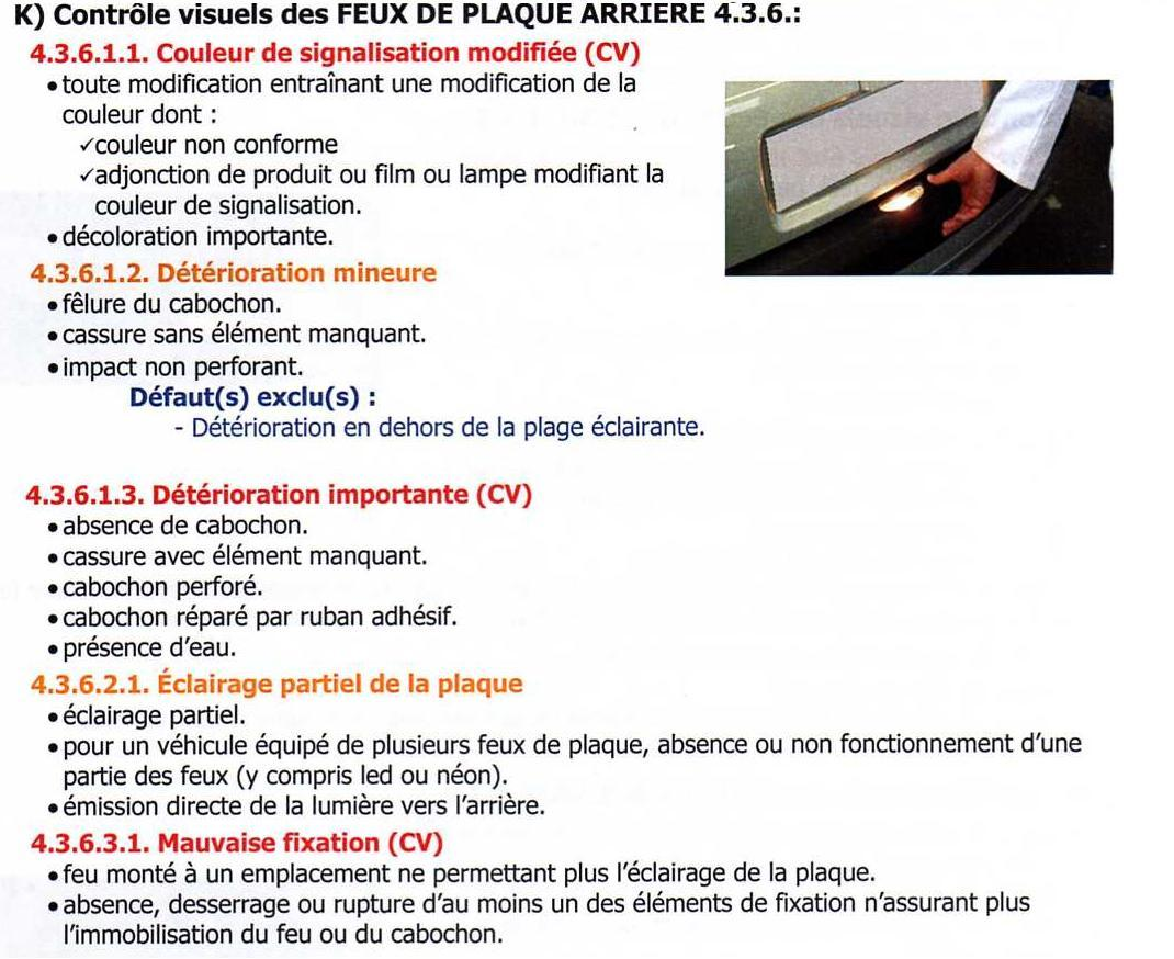 question  u00e9clairage plaque pour contr u00f4le technique - controle technique - vie pratique