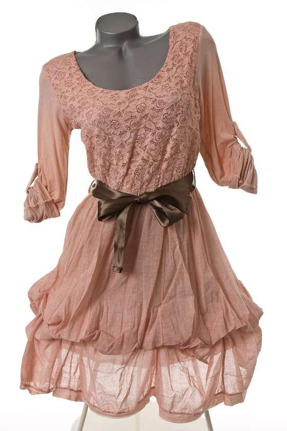 neu ausgefallenes kleid tunika raffbar spitze rosa 38 40. Black Bedroom Furniture Sets. Home Design Ideas