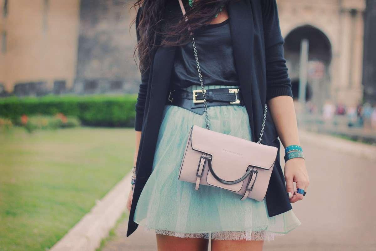 mint skirt coccinelle bag