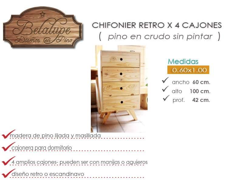 Chifonier cajonera x4 60cm vintage retro escandinavo pino - Chifonier cajonera ...