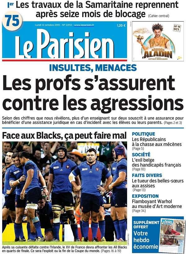 Le Parisien du Lundi 12 Octobre 2015