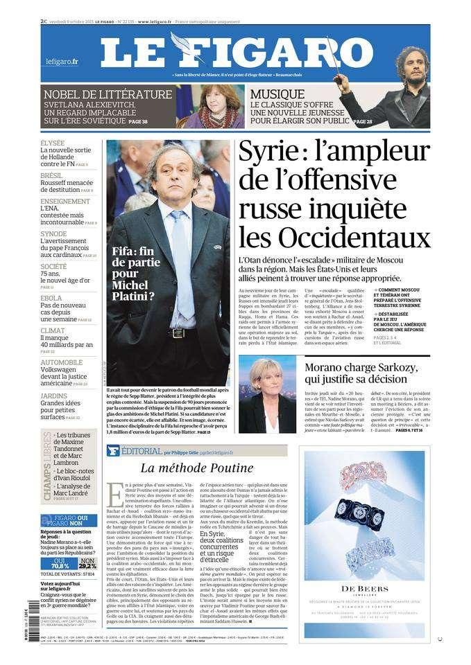 Le Figaro du vendredi 9 octobre 2015