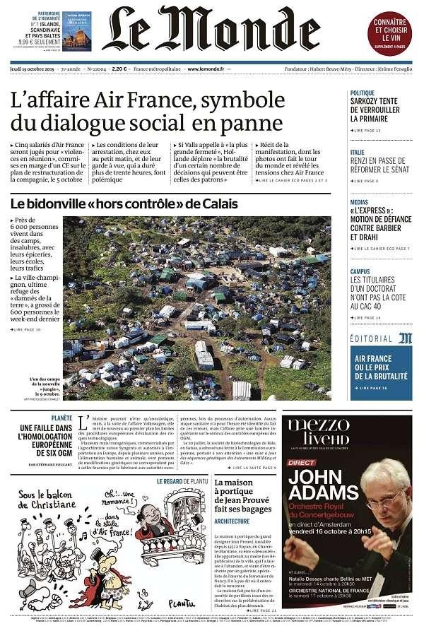 Le Monde et 2 Suppléments du Jeudi 15 Octobre 2015