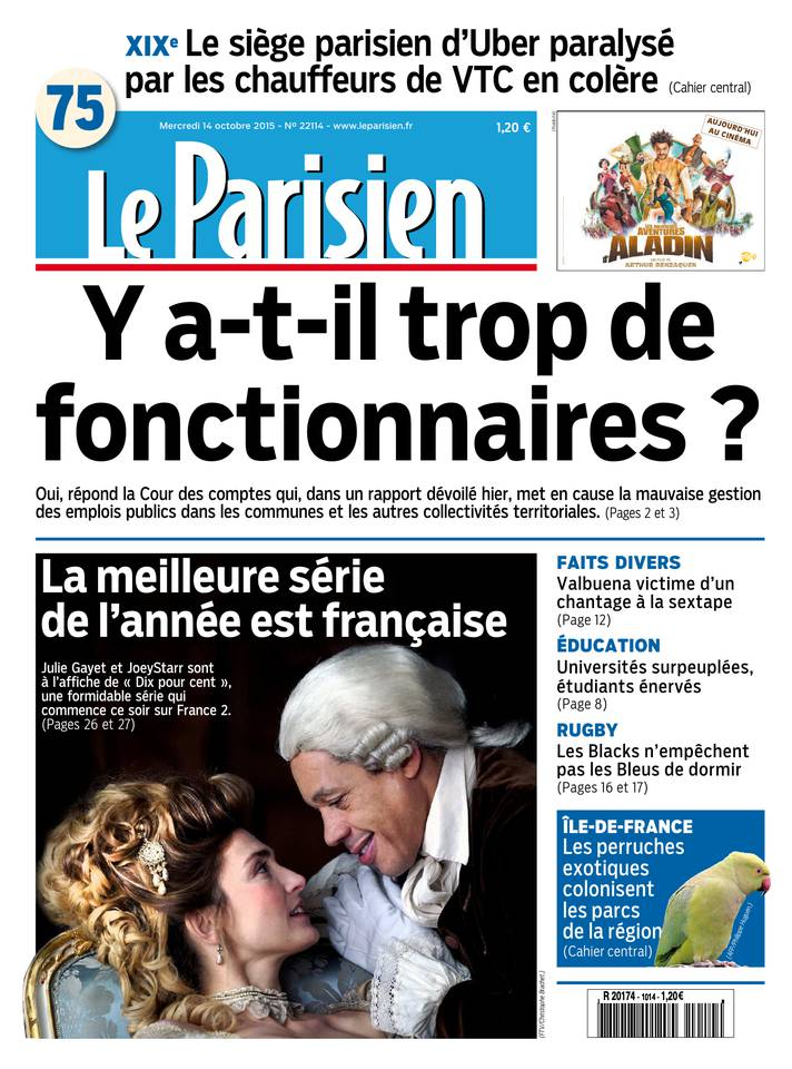 Le Parisien + Journal de Paris du Mercredi 14 Octobre 2015