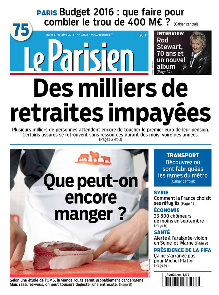 Le Parisien + Journal de Paris du Mardi 27 Octobre 2015