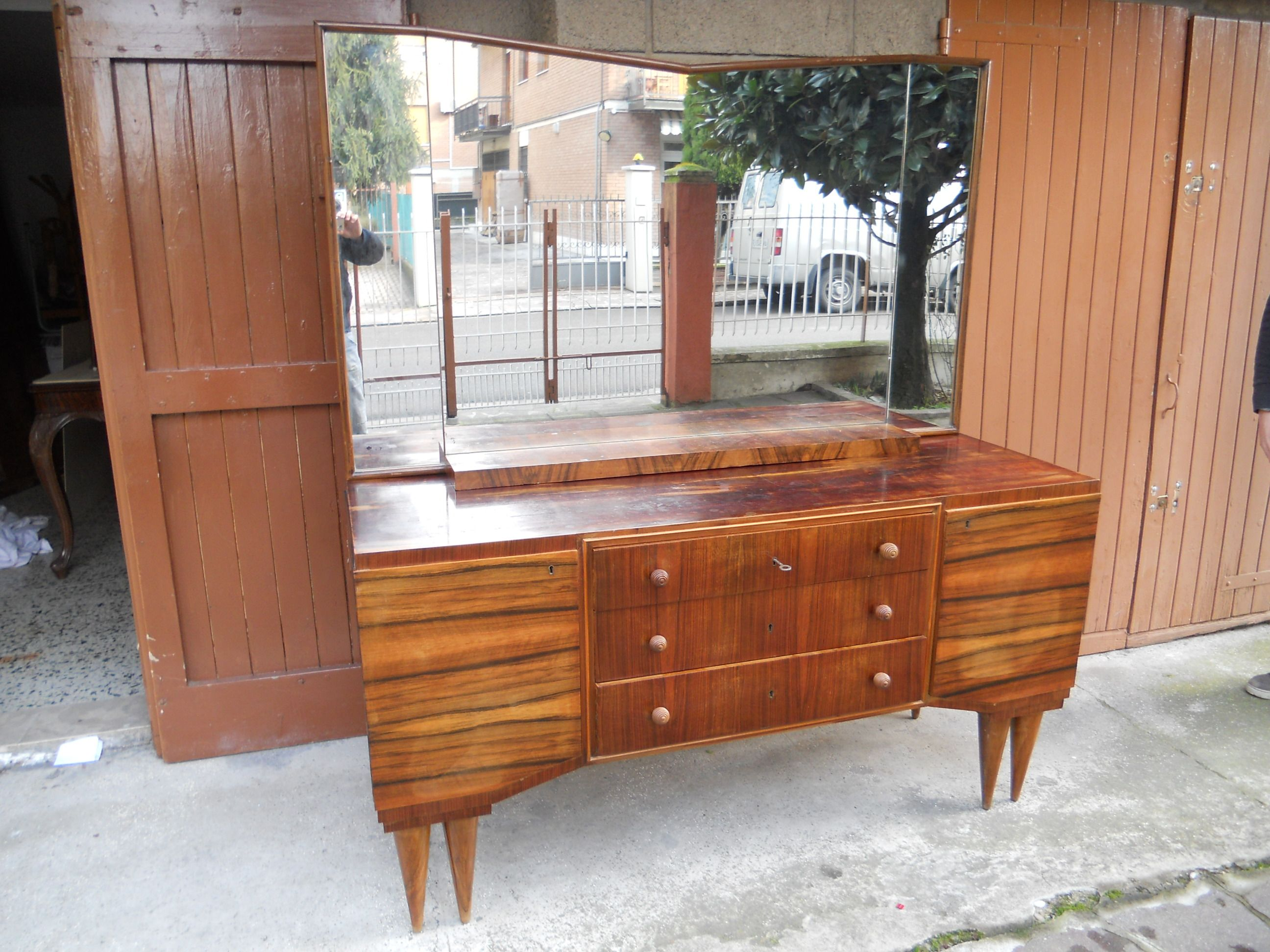 Italian Walnut Art Deco Bedroom Suite From 1940 At The Manner Of Gio Ponti Ebay