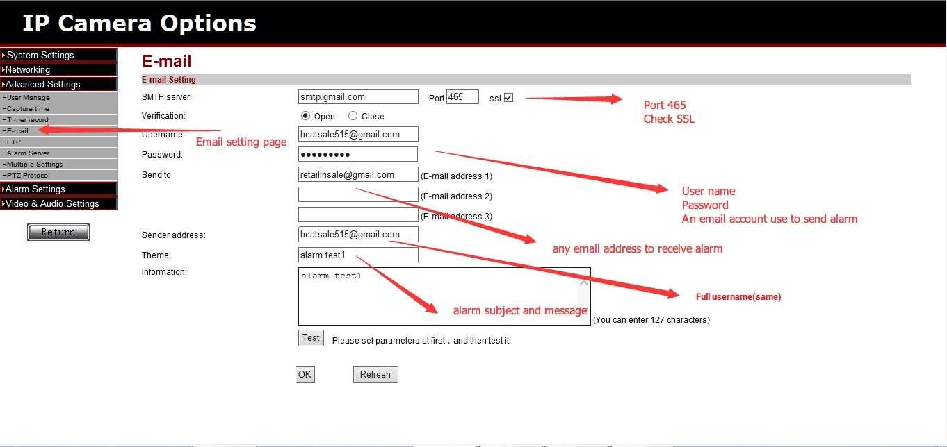 How to set easyn ip camera email alert easyn support desk for Camera email