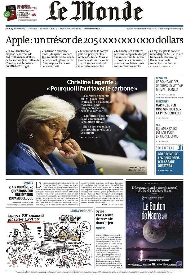 Le Monde et Supplément du Jeudi 29 Octobre 2015