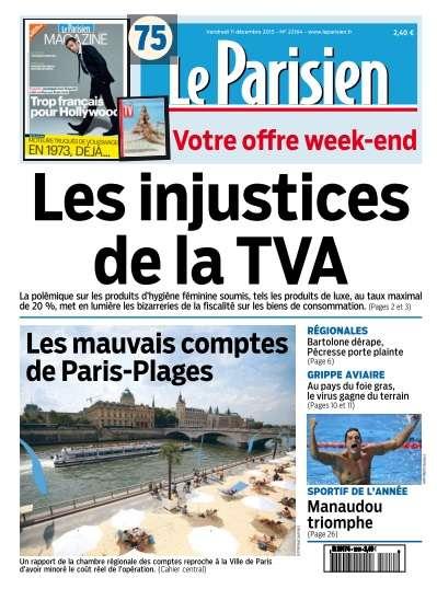 Le Parisien + Journal de Paris du Vendredi 11 décembre 2015