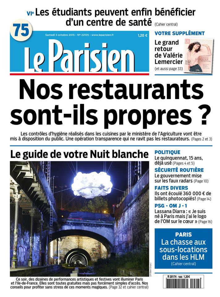 Le Parisien + Journal de Paris du Samedi 3 Octobre 2015