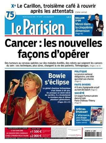 Le Parisien + Journal de Paris du Mardi 12 Janvier 2016