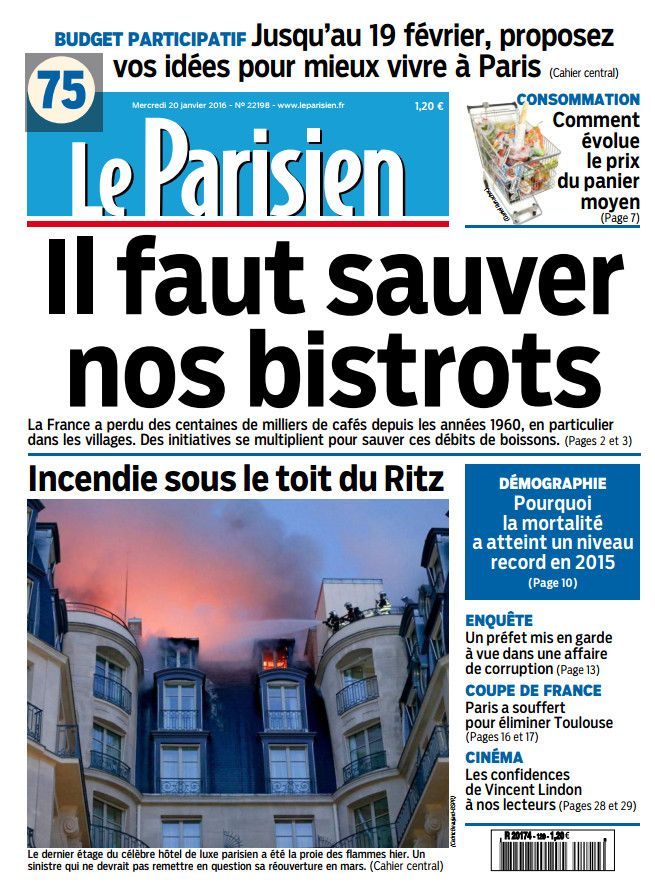 Le Parisien du Mercredi 20 Janvier 2016