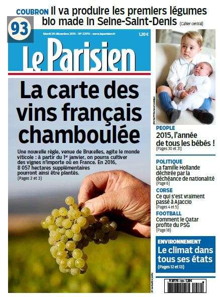 Le Parisien + Journal de Paris du Mardi 29 décembre 2015