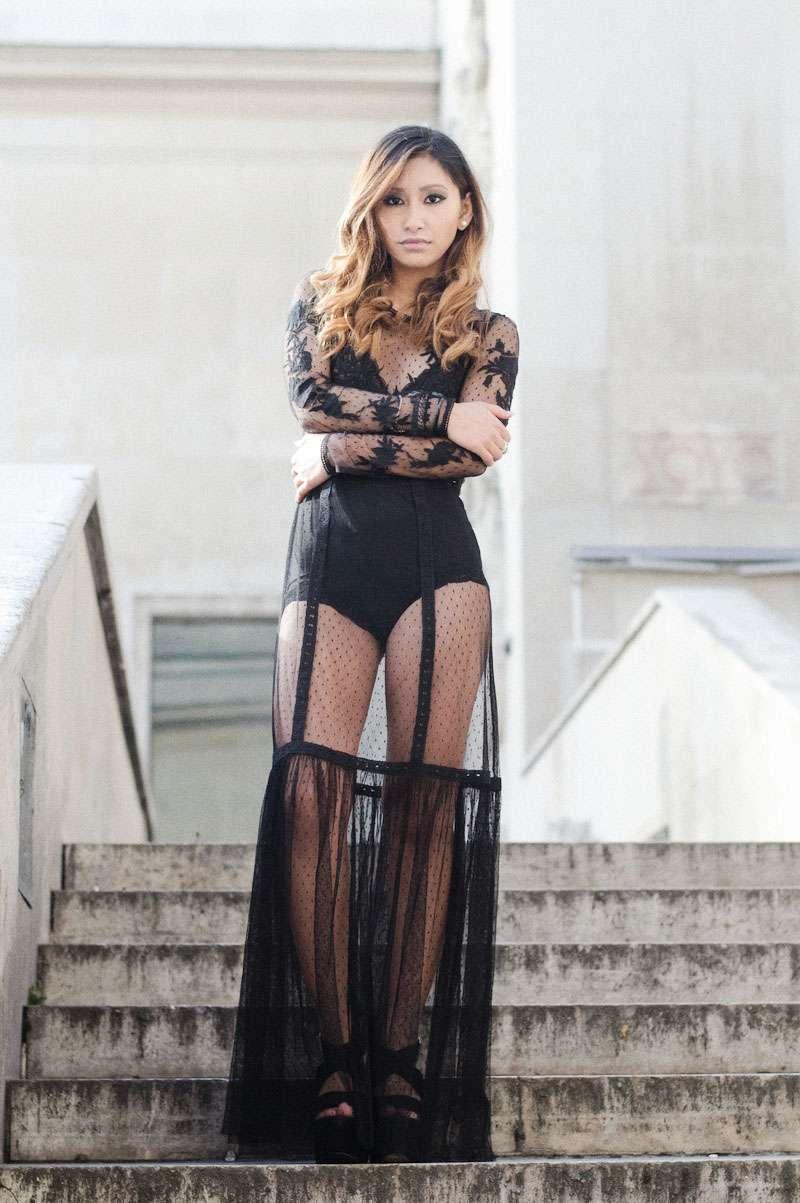 robe longue de soirée en dentelle blog mode paris
