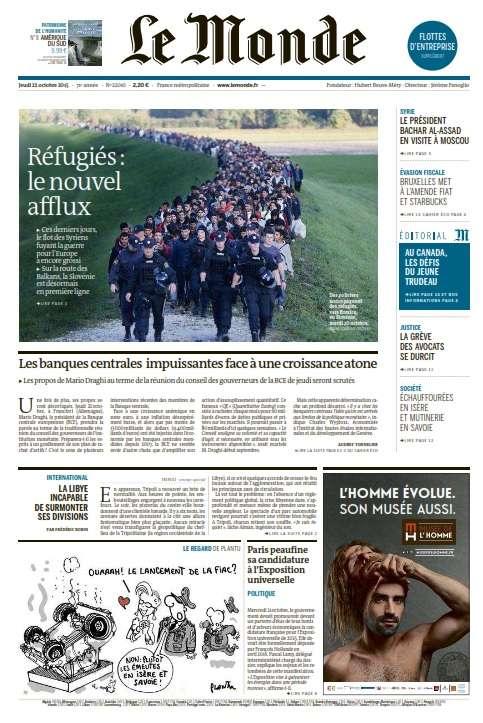 Le Monde et 2 Suppléments du Jeudi 22 Octobre 2015