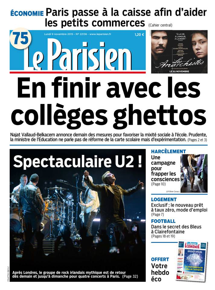 Le Parisien + Journal de Paris du Lundi 9 Novembre 2015