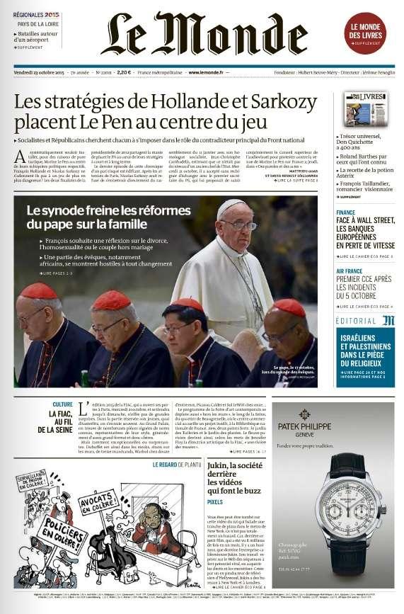 Le Monde et 3 Suppléments du Vendredi 23 Octobre 2015
