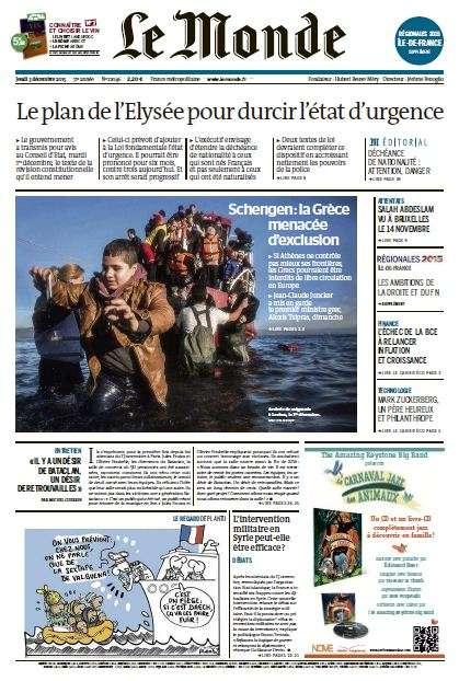 Le Monde + 2 suppléments du Jeudi 3 Décembre 2015