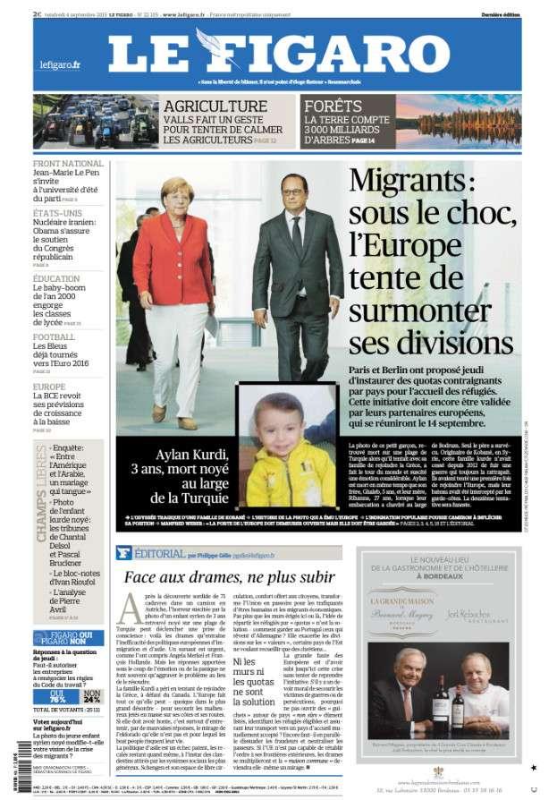 Le Figaro du vendredi 4 septembre 2015