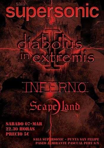 Concierto Diabolus in Extremis + Inferno + Scapeland en Cádiz