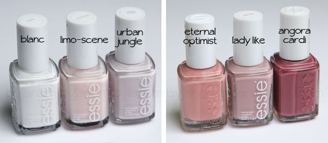 essie blanc, limo-scene, urban jungle, eternal optimist, lady like, angora cardi
