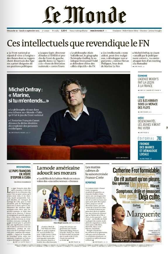 Le Monde et Supplément du Dimanche 20 et Lundi 21 Septembre 2015