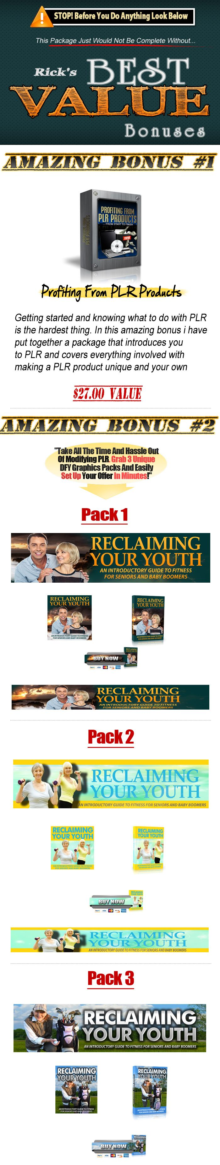 Reclaiming Your Youth PLR Mega Pack Download