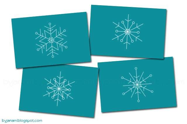 Postkarten mit Schneeflocken