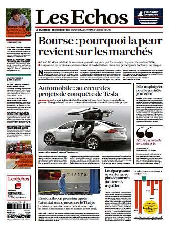 Les Echos Du Lundi 24 Août 2015