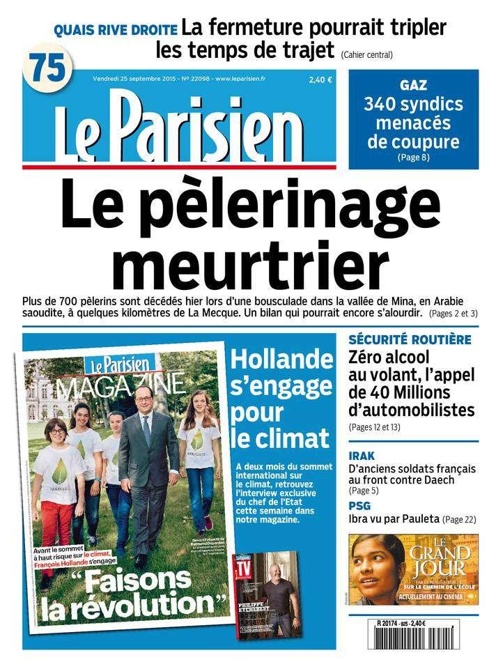 Le Parisien + Journal de Paris du Vendredi 25 Septembre 2015