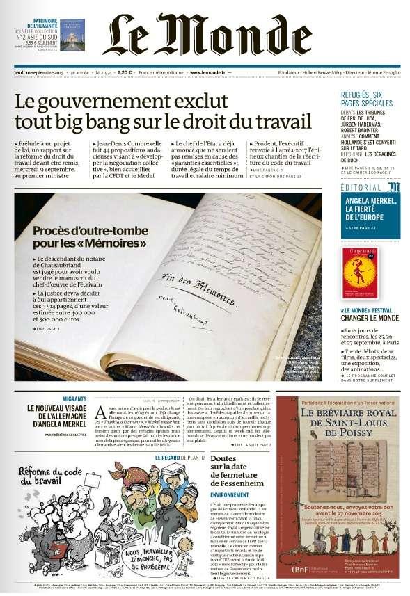 Le Monde du Jeudi 10 Septembre 2015