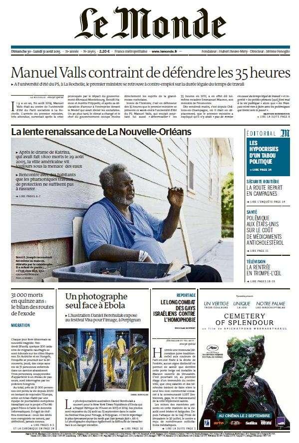 Le Monde du Dimanche 30 et Lundi 31 Aout 2015