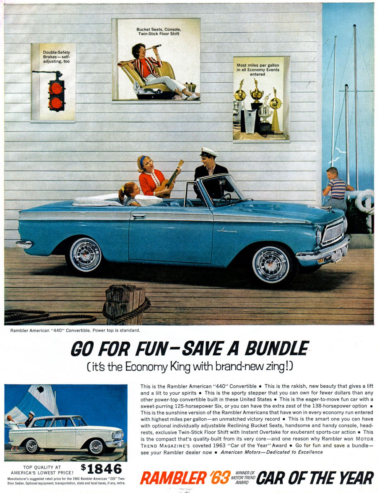 The American Motors Rambler 440 Convertible. Go for fun. Save a bundle (it's the Economy King with brand-new zing!).