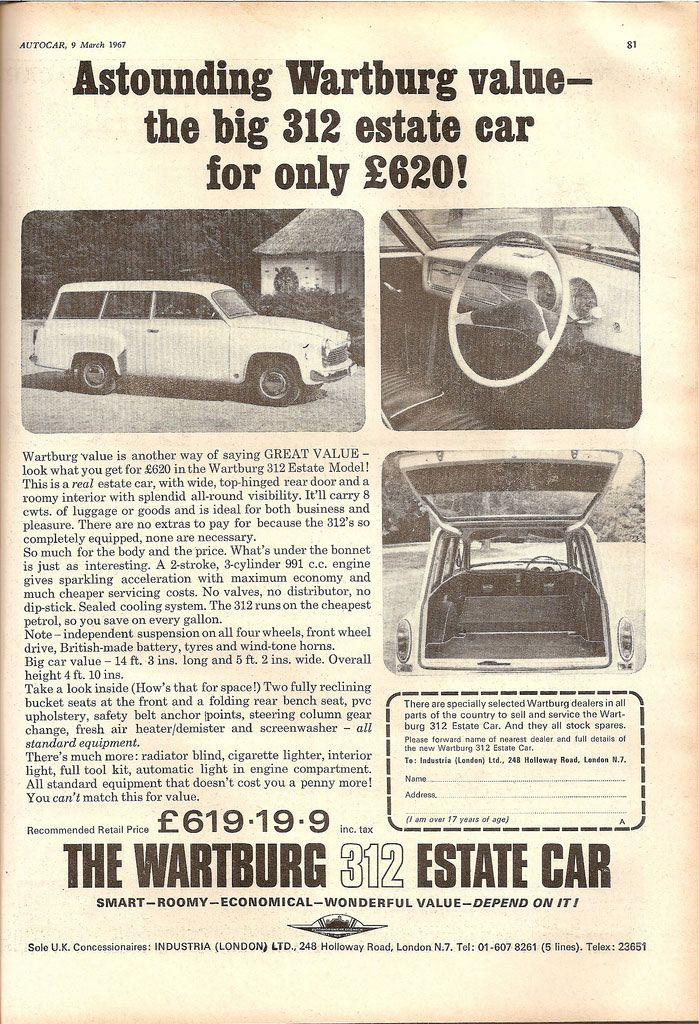 Astounding Wartburg value. The big 312 Estate Car for only £620!