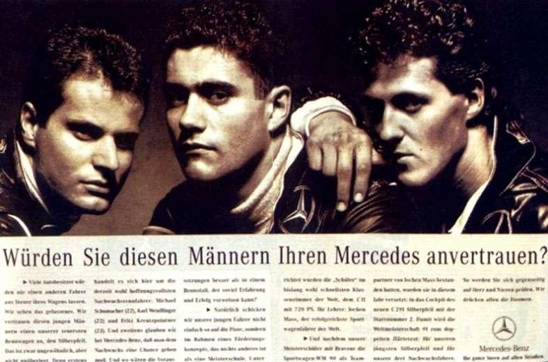Würden Sie diesen Männern Ihren Mercedes-Benz anvertrauen? (Mit Karl Wendlinger, Fritz Kreutzpointner und Michael Schumacher)