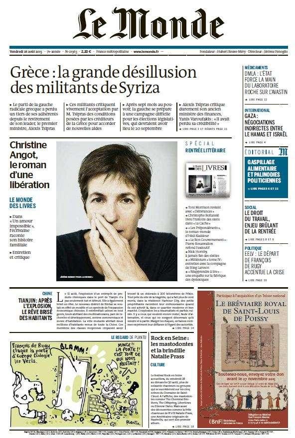 Le Monde du Vendredi 28 Aout 2015