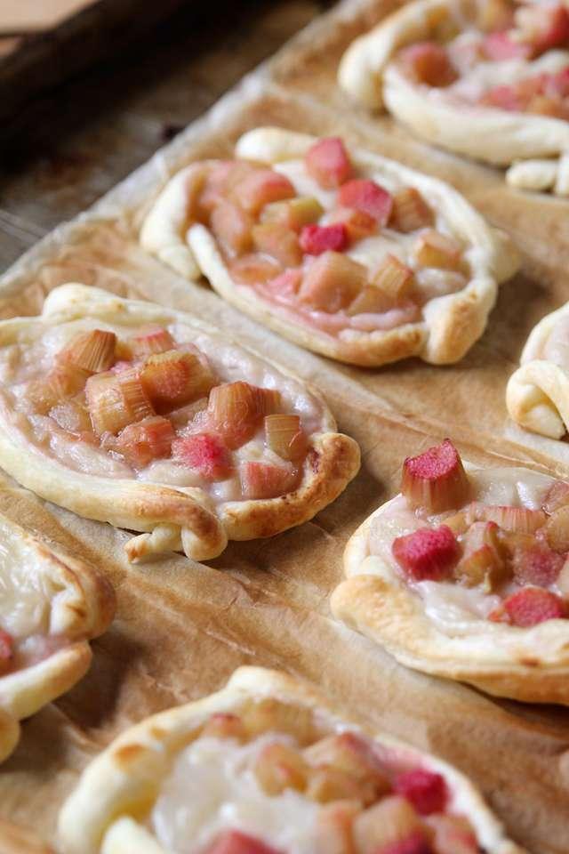 Rezept - Rhabarber-Pudding-Blätterteig-Teilchen