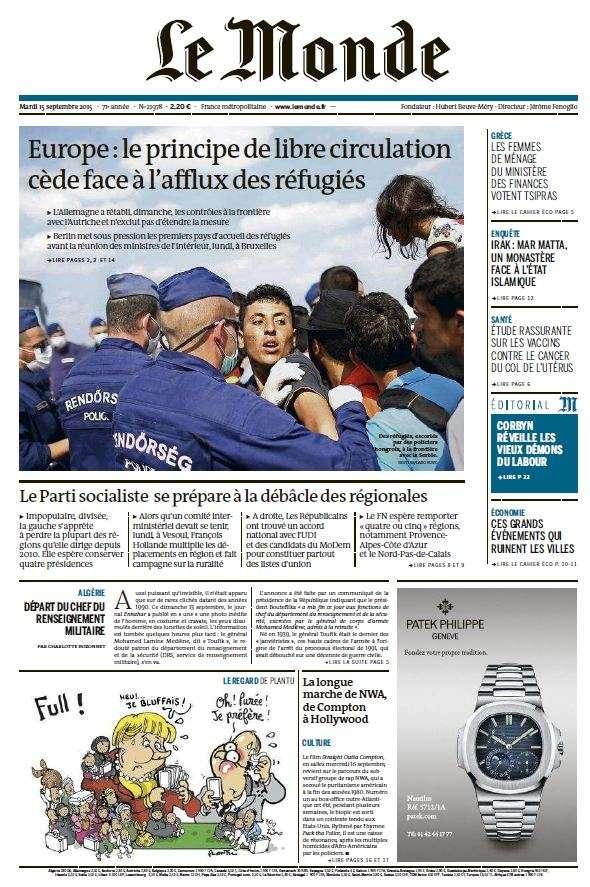 Le Monde du Mardi 15 Septembre 2015