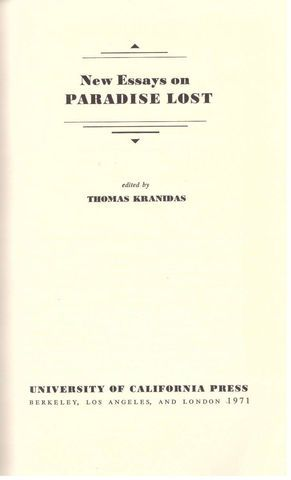 "New Essays on ""Paradise Lost"""