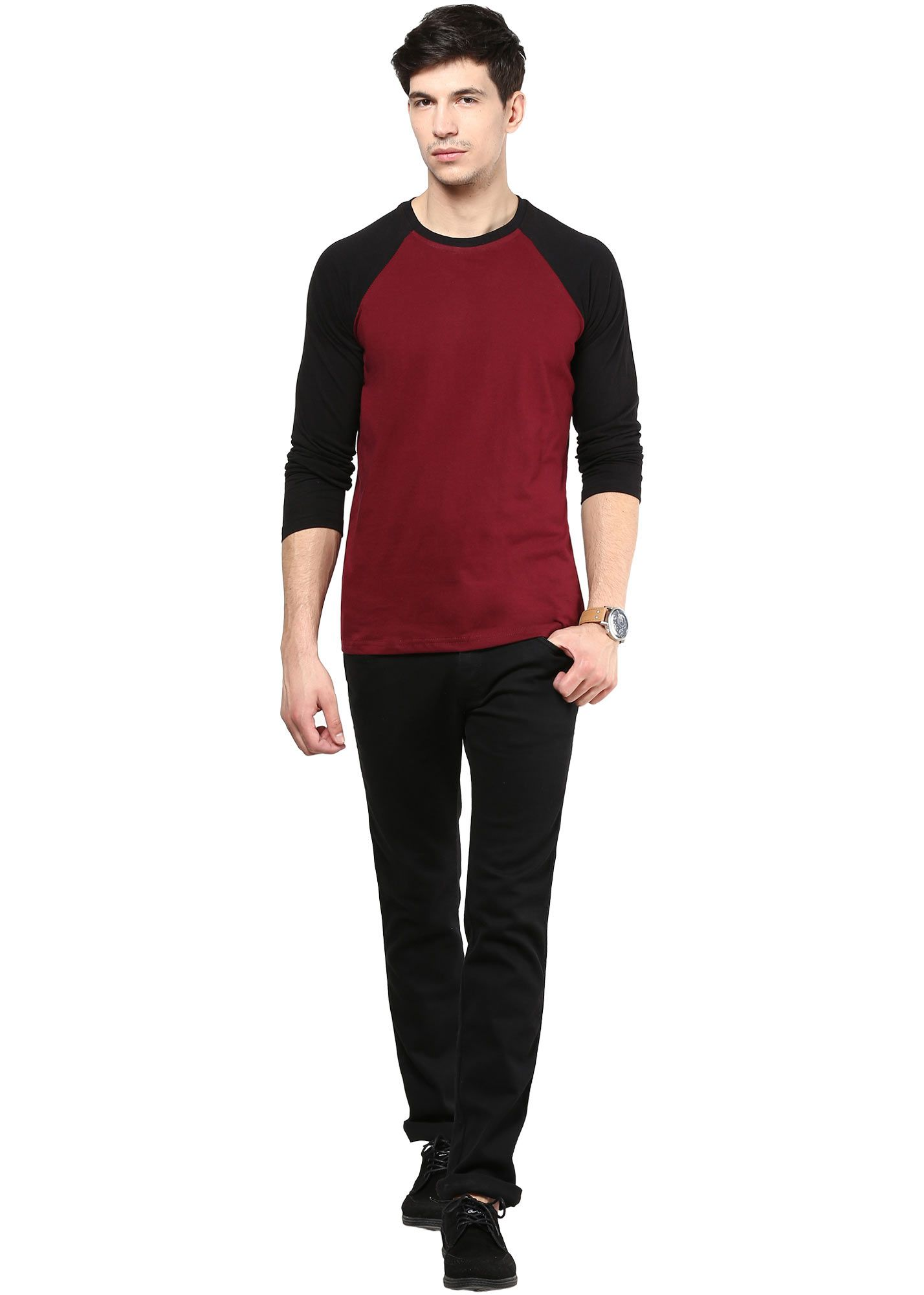 Izinc maroon reglan coloured full sleeve cotton t shirt for Maroon t shirt for men