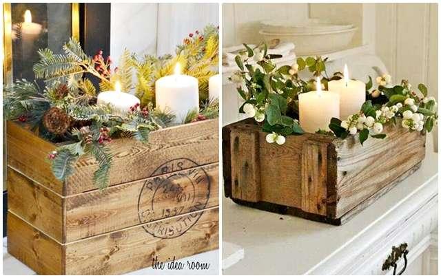Cajas de madera, velas