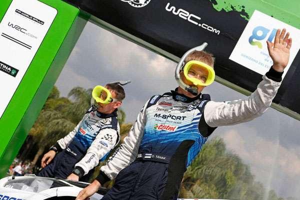 WRC 2015 - Rally Guanajuato México - Ott Tänak and Raigo Mõlder wearing diving masks