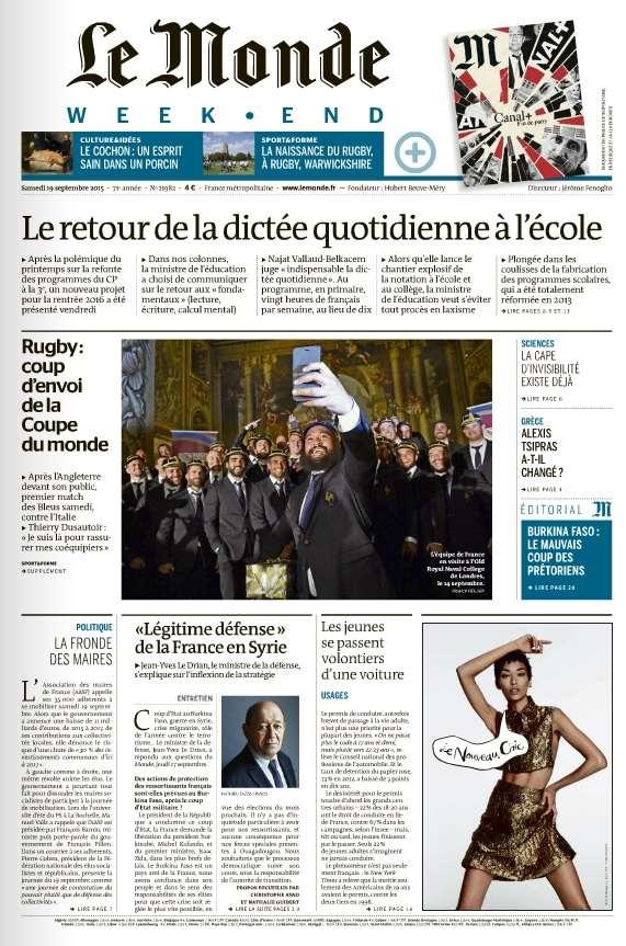 Le Monde Weekend et 4 Suppléments du Samedi 19 Septembre 2015